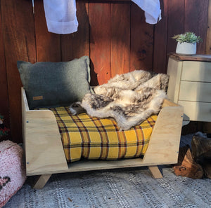 Yellow Check Pet Cushion