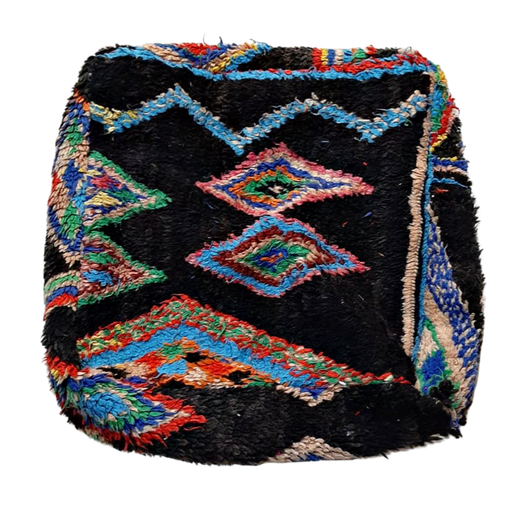 Moroccan Rug Cushion - Black Diamonds I