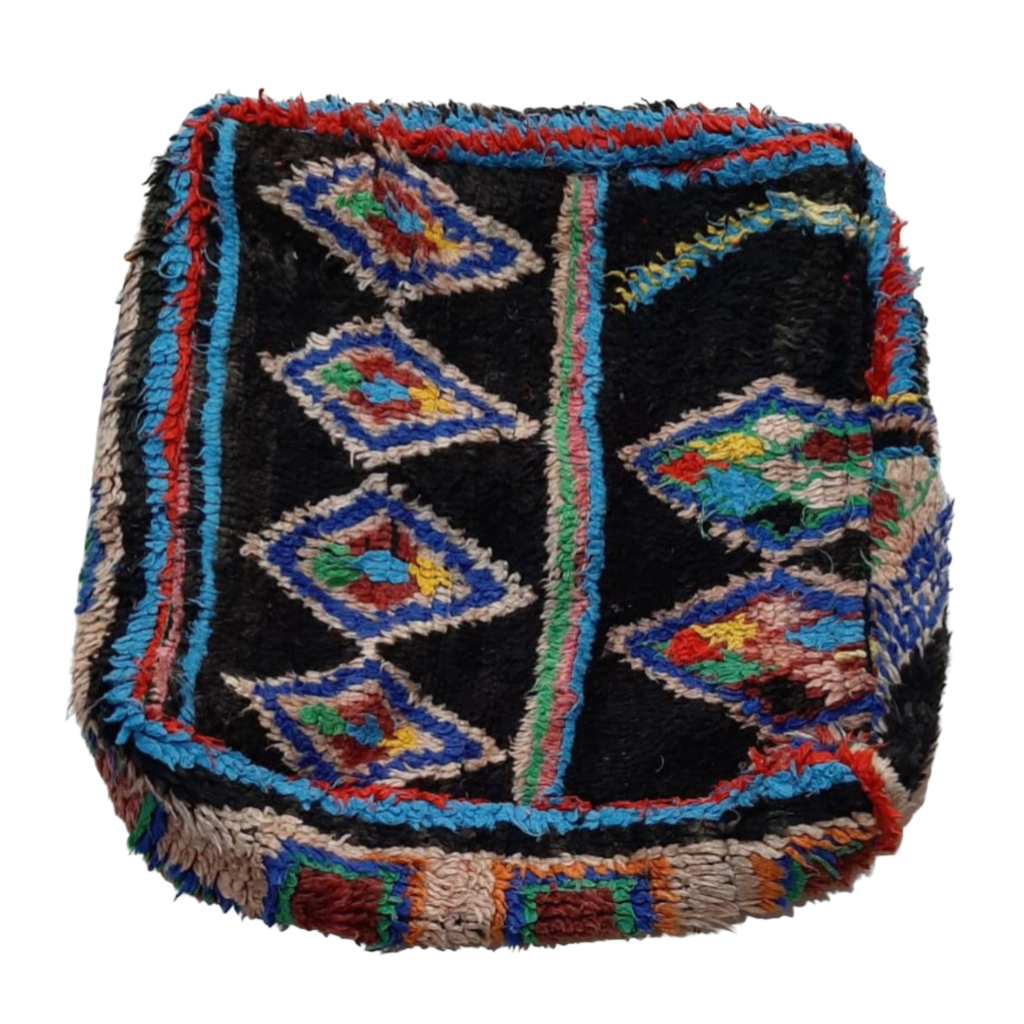 Moroccan Rug Cushion - Black Diamonds