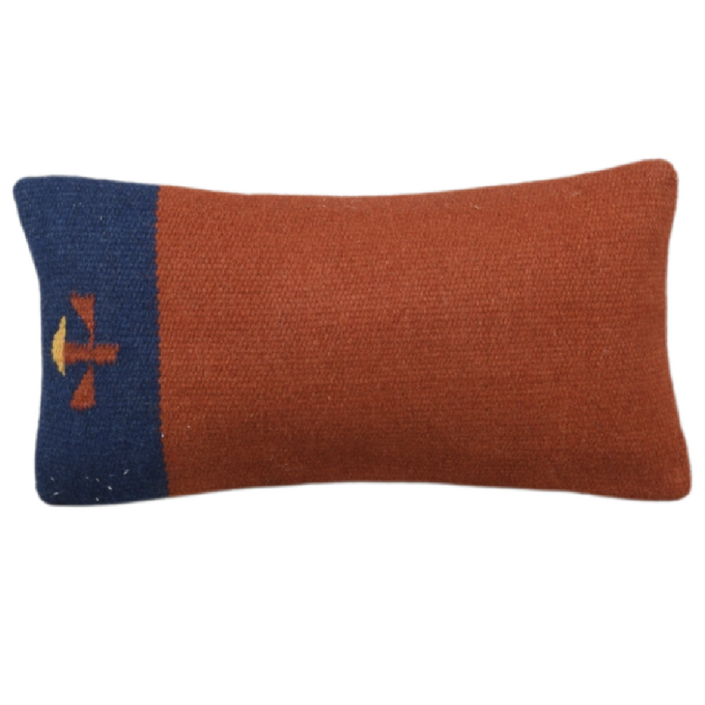 Rust and Navy Turkish Cushion - Extra Small