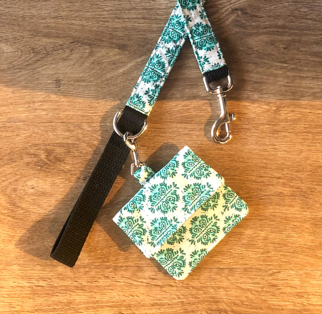 Bohemian Dog Lead and Pooch Bag - Emerald Green
