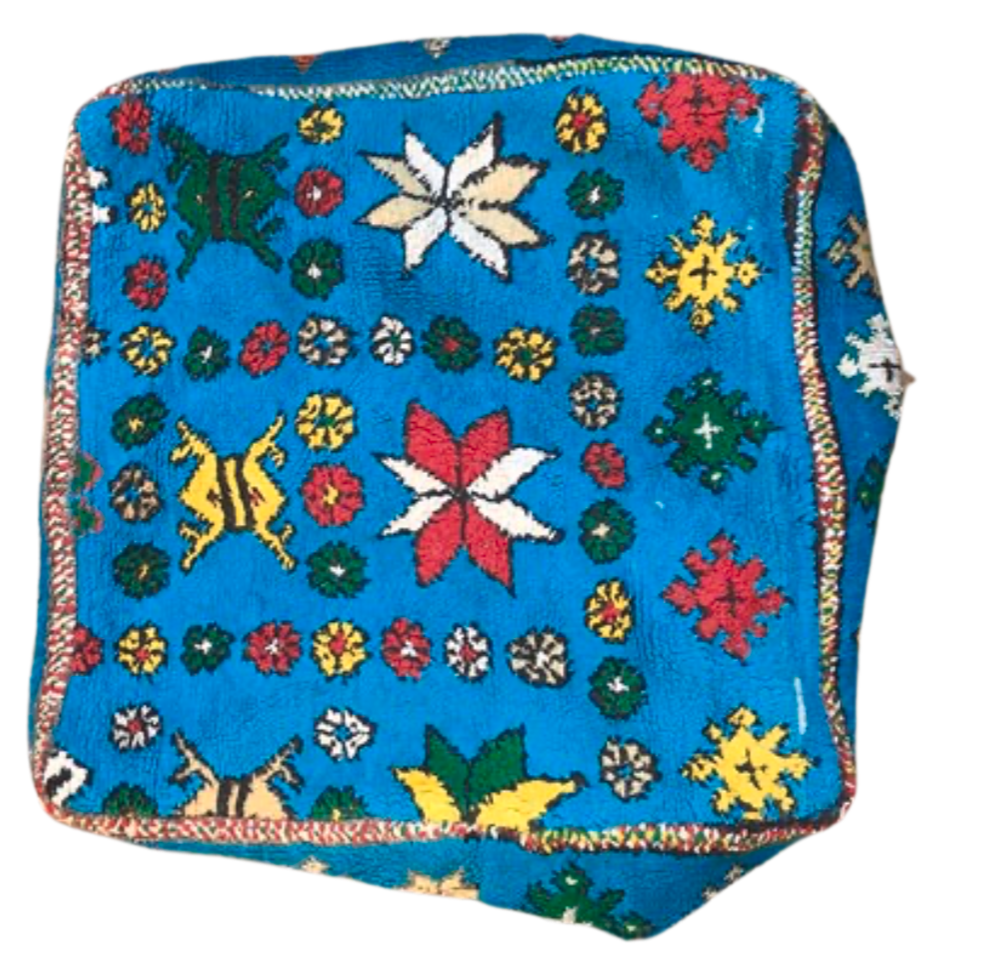 Moroccan Rug Cushion - Vibrant Blue with Flowers
