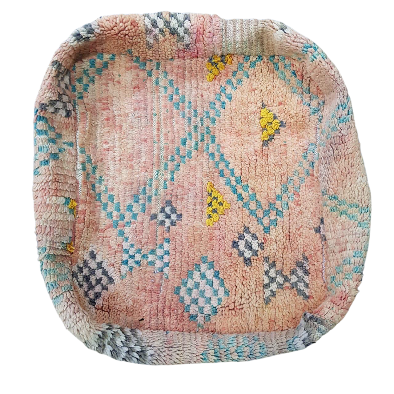 Moroccan Rug Cushion - Dusty Peach with Teal Diamonds