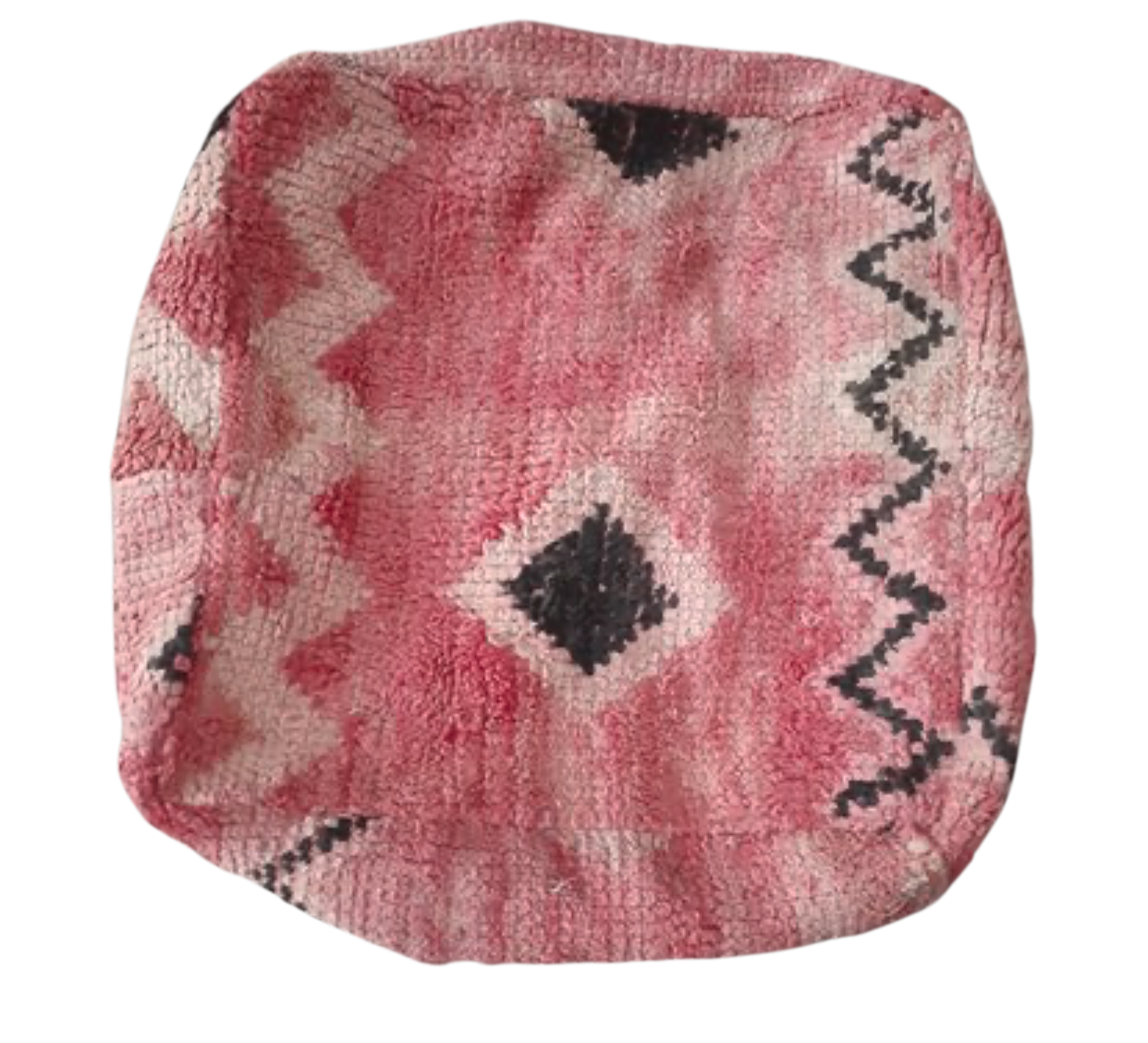 Moroccan Rug Cushion - Dusty Pink with Zig Zags