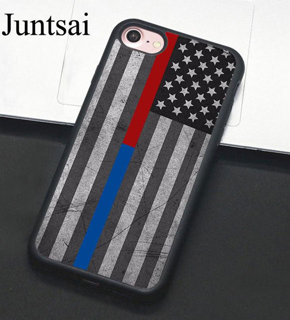 THIN BLUE RED LINE POLICE PHONE CASE FOR APPLE IPHONE X 8 7 6S PLUS 7PLUS 6PLUS 6S 6 5 5S SE COVER