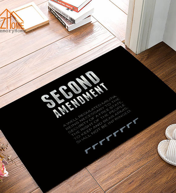 2ND AMENDMENT DESIGN RUG BLACK