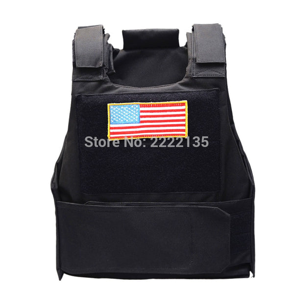 Tactical Cs Police Vest Plate Carrier Combat Vest w/US Flag Patch Airsoft Outdoor Hunting Protective  Vests