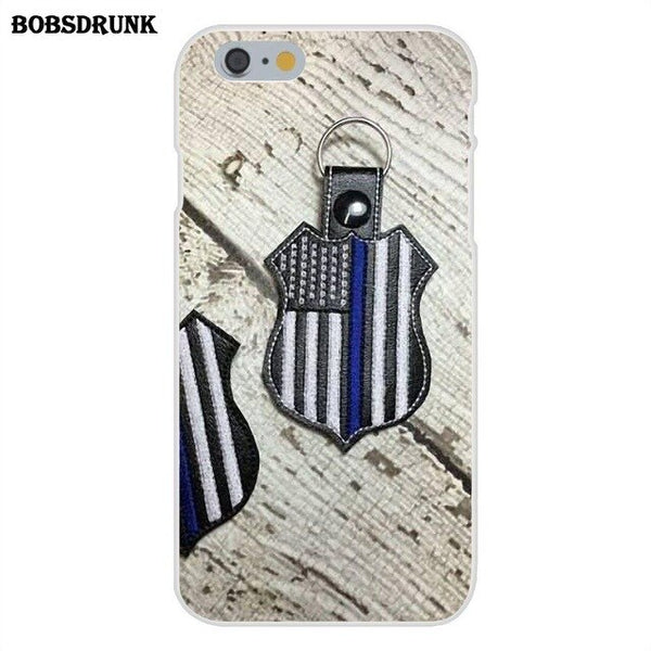 EJGROUP Soft Phone Cases For iPhone 4 4S 5 5C SE 6 6S 7 8 Plus X Us Police Badge - Thin Blue Line