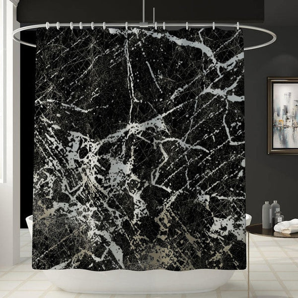 Marble Print Shower Curtain 4 Piece Carpet Cover Toilet Cover Bath Mat Pad Set Bathroom Curtain with 12 Hooks