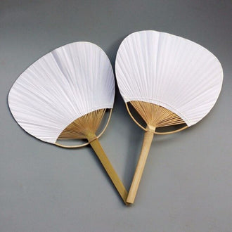 20pcs Pure white bamboo handle blank calligraphy painting blank group fan white fan summer