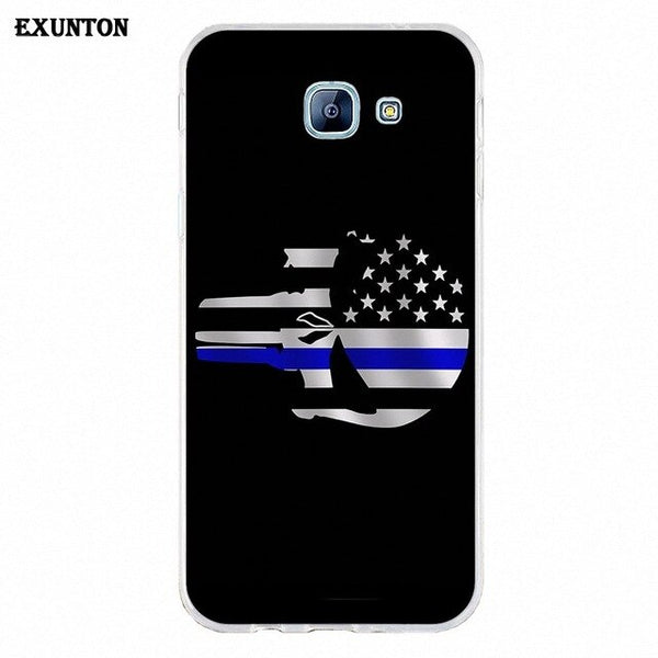 Thin Blue Line American Us Flag Soft Print Capa For Galaxy A3 A5 A7 A8 A9 A9S On5 On7 Plus Pro Star 2015 2016 2017 2018