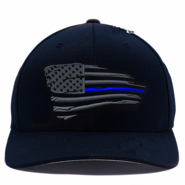 Printed NEW American Thin Blue Line Waving Flag Baseball Cap Hat Adjustable