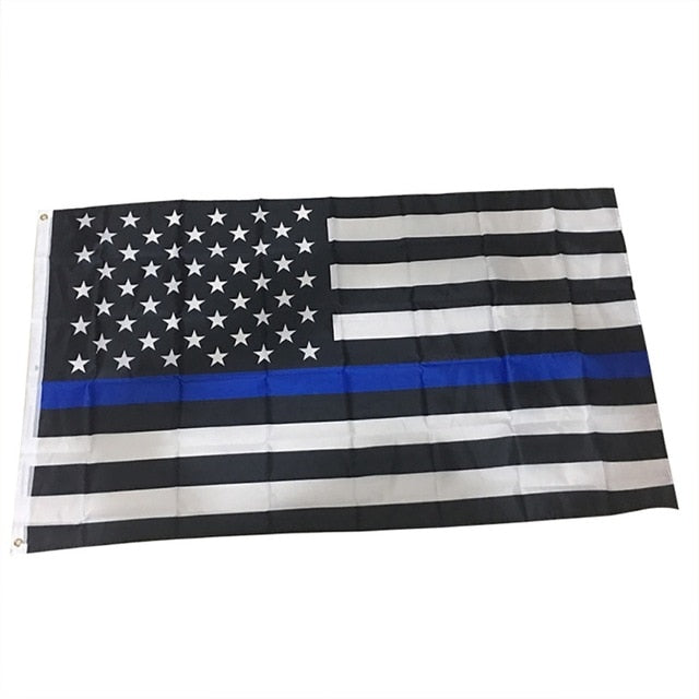 Blue Black American Flag Blue Line US Flag For Support Police And Law Enforcement Officers