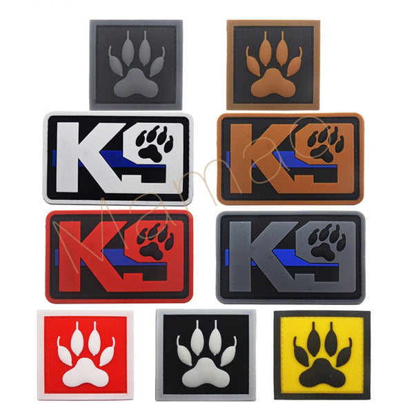 K9 Blue Line Service Dog Tactical Military Patches  Backpack Bags 3D PVC Badges for Clothes Clothing Patches