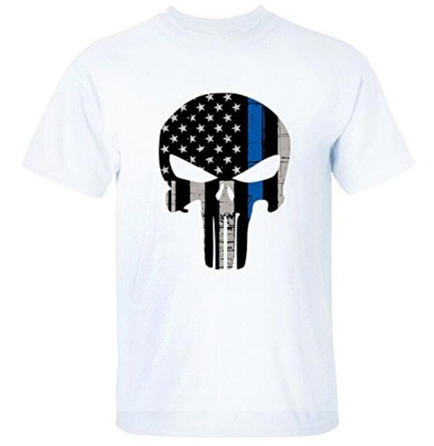 New Thin Blue Line The Punisher T-Shirt Men Cotton Summer Tshirt Hip Hop Tees Tops