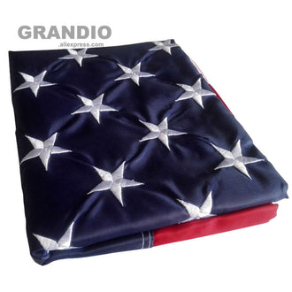 Outdoor USA Flag US 3x5 Feet Waterproof Nylon Embroidered Stars Sewn Stripes Brass Grommets American Flags and Banners