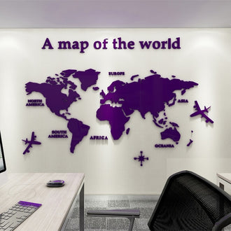 European Version World Map Acrylic 3D Wall Sticker For Living Room Office Home Decor World Map Wall Decals Mural for Kids Room