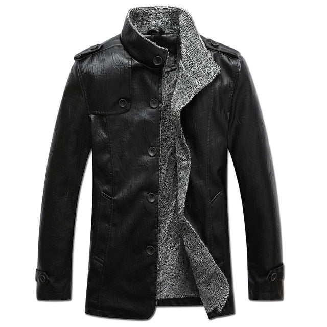 Winter Warm smart casual Jacket Men Solid Long Sleeve Faux  PU Leather Coat Stand Collar Thick Slim Fit Men Jacket Trench Coats