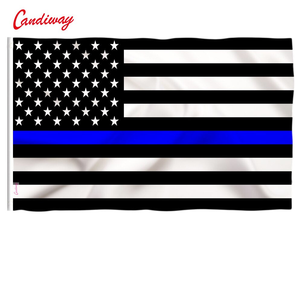Thin Blue Line American Flag Honoring our Men and Women of Law Enforcement Grommet