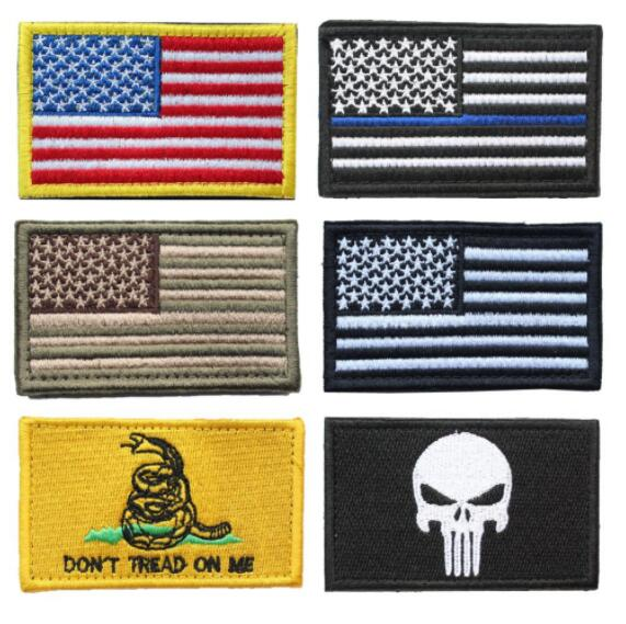 USA flag patches Bundle 6 Pieces American Thin Blue Line Police Flag Don't Tread On Me skull Embroidered Morale badge Patch