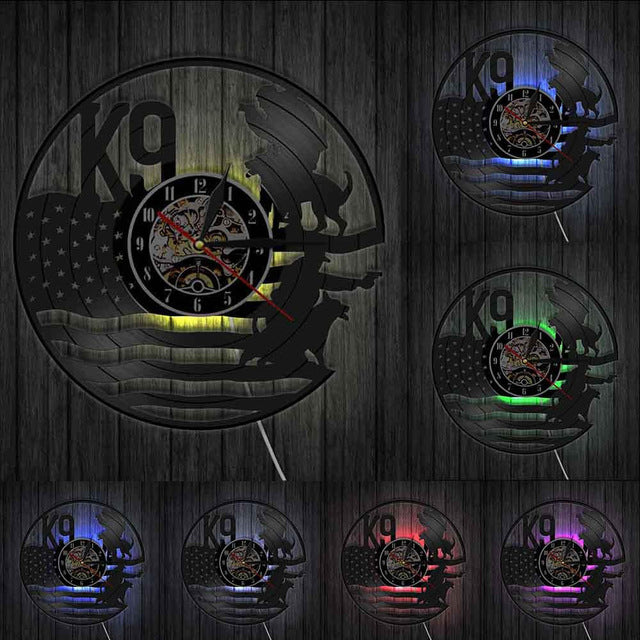 K9 Police N Military Dog Wall Art Decoraitve Wall Light With American Flag Vinyl Record Wall Clocks Cop Gift Police Office Decor