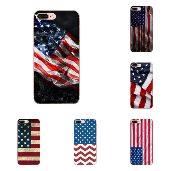For Xiaomi Redmi Note 2 3 3S 4 4A 4X 5 5A 6 6A Pro Plus Soft TPU Cell Phone Case Rubber Blue Line American Us Flag