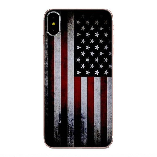 TPU Mobile Pouch For Galaxy A3 A5 A7 On5 On7 2015 2016 2017 Grand Alpha G850 Core2 Prime S2 I9082 Thin Blue Line American Flag