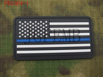 star right The thin blue line America flag Police SWAT Military Morale 3D PVC Patch