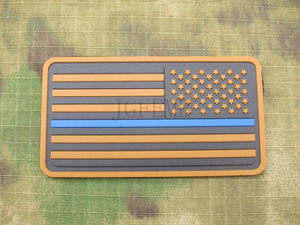 black background tan design Right Tan The thin blue line America flag Police SWAT Military Morale 3D PVC  patch PB1378