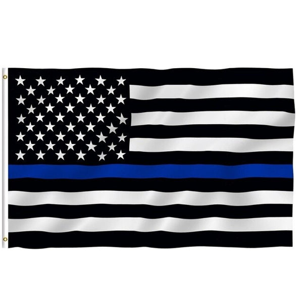 150*90 cm Subdued Thin Blue Line Stripes USA Flags grommets , Police ,Cops Flags ,Black, White, Blue Flags Hot Sale