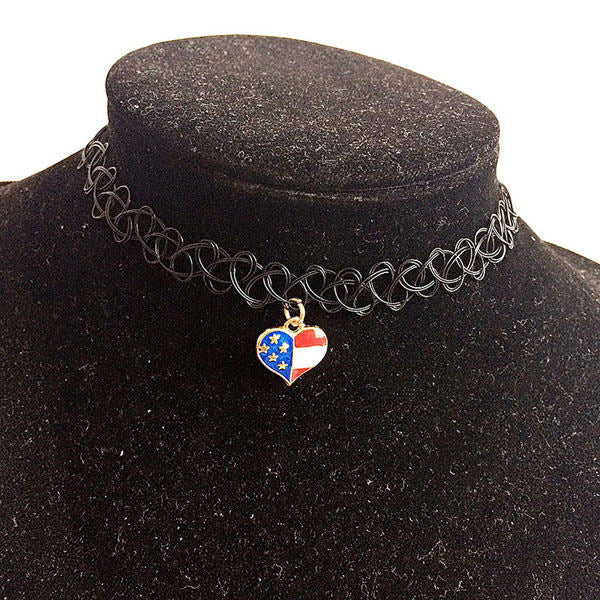 American flag heart bracelet with charm