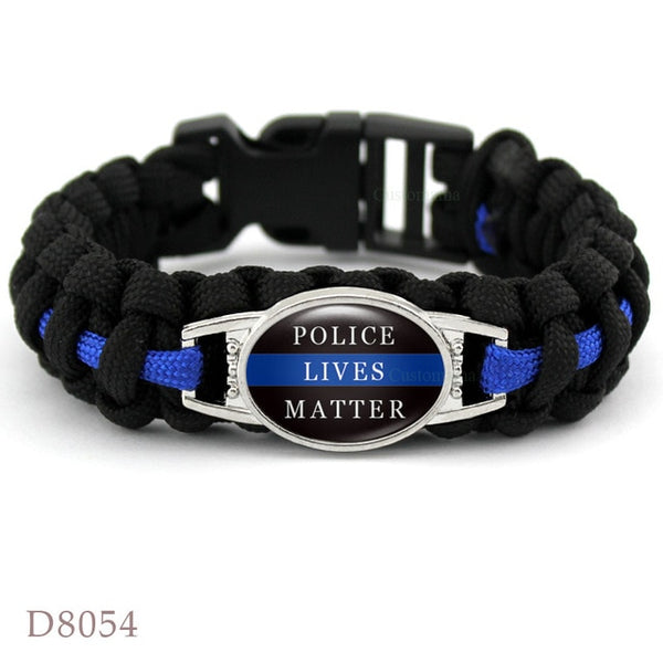 Thin Blue Line Back the Blue Mom Sister Wife Aunt Grandma Dad Son Daughter Survival Paracord Charm Bracelets Men Women Gift