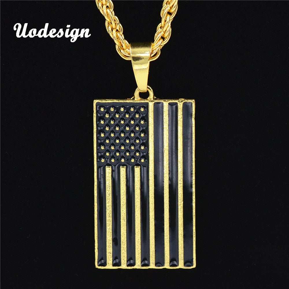 Uodesign American Flag Necklace Men Jewelry Extend Chain New Hipster USA Symbol Pendant Necklaces Mens Jewellery