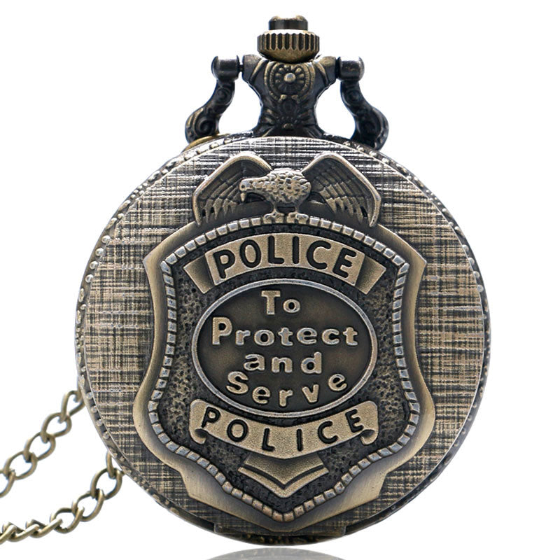 Retro Bronze POLICE Quartz Pocket Watch Pendant Necklace Chain Mens Womens Gift P388