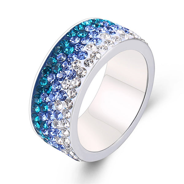 Red Blue Black Color Crystal Ring For Women Man Vintage 5 Row Lines Stainless Steel Ring Party Female Flower Finger Jewelry 2018