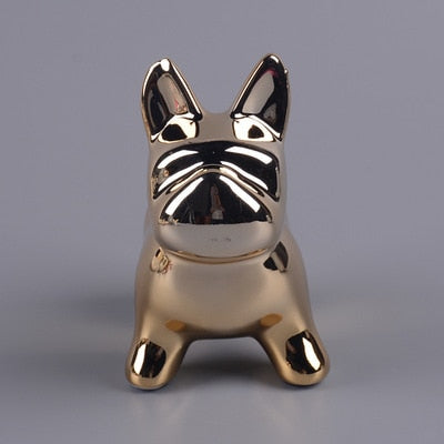 New Fashion Bulldog Stainless steel Crafts Sculpture Creative Gifts Modern Simple Home Decorations Statues Coin Desktop Ornament