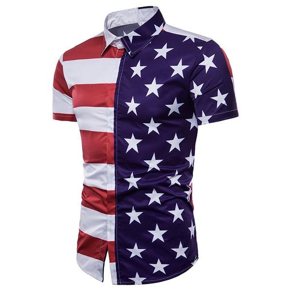 Summer Men's T-shirts American Flag stars Printed Shirt