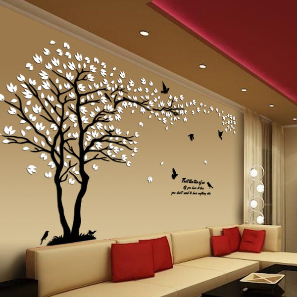 New arrival Lovers tree Acrylic crystal wall stickers DIY art wall decor stickers Living room tv sofa wall 3d decoration