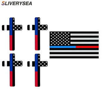 5-Pack Police Thin Blue Red Line Stickers Reflective Cross Decals for Patrol Car Truck Jeep Laptop Display your American Flag!