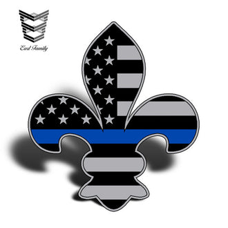 EARLFAMILY 13cm X 11.7cm Fleur De Lis USA Flag Blue Line Sticker Decal Lives Matter New Orleans Louisiana Police Officer Sheriff