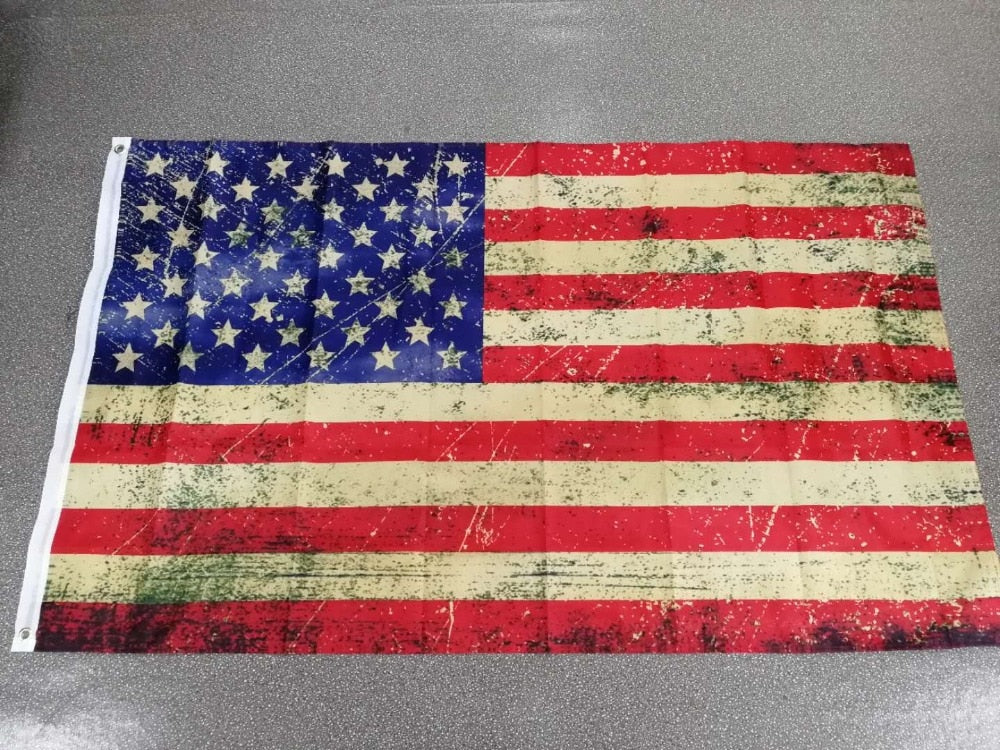 Vintage Style Tea Stained old Antiqued American US Flag