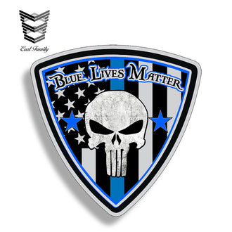 EARLFAMILY 12cm X 12cm Punisher Blue Line USA American Flag Sticker Car Truck Window Bumper Vinyl Police Law Enforcement Decal