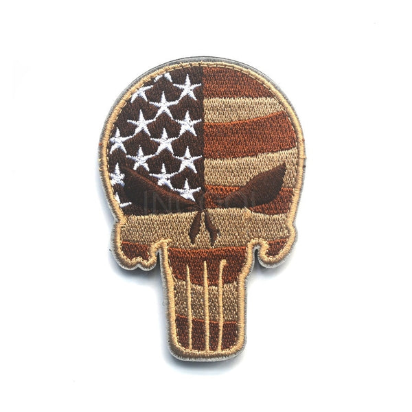 Skull American US Flag Embroidery Patch Thin Blue Line Morale Patch Tactical Emblem Applique Badges Embroidery Patches 6.3*9CM
