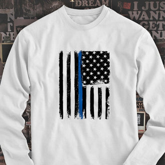 THIN BLUE LINE AMERICAN FLAG  Mens White Long Sleeve T-Shirt