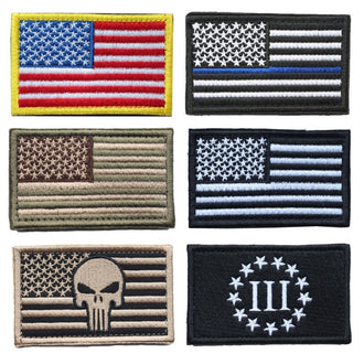 Bundle 6pcs Military Patches Tactical Morale  USA American Thin Blue Line Police Flag badges patch for clothes with Hook & Loop