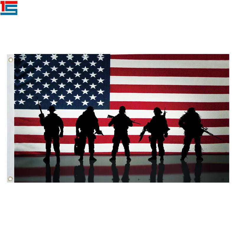 American Flag Veterans Day Soldier Military 3x5 Breeze Flag 4th of July Independence Memorial Day Army Warrior Flag