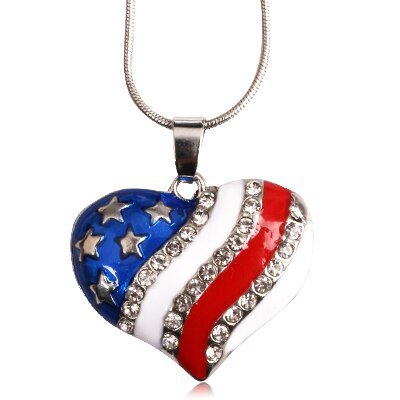 American Flag Charm Necklace P