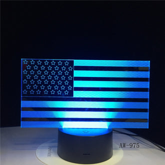7 Color Changing USB  American Flag Table Lamp 3D LED Bedside Light
