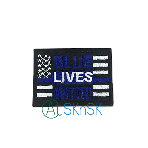 10PCS/Lot Hook&Loop Blue Lives Matter Embroidered Flag Patch Police Tactical Morale Tags Magic Patches Applique