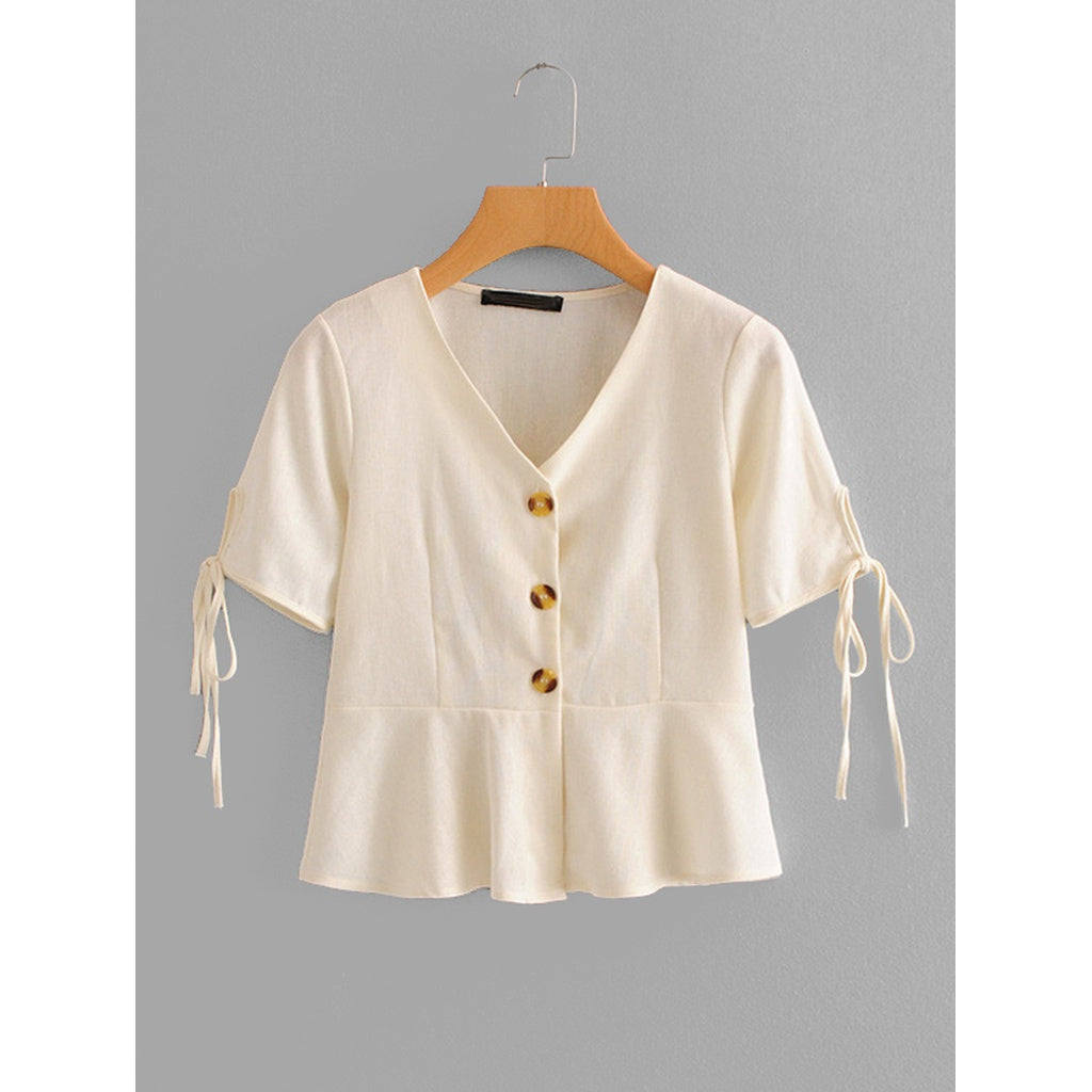 Tie Cuff Button Front Blouse